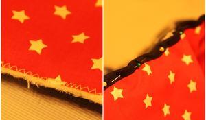 KROK VI – Przyszywanie spodniej części narzuty i lamówki